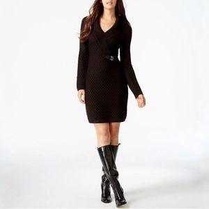 Calvin Klein Black Cable Knit Buckle Sweater Dress